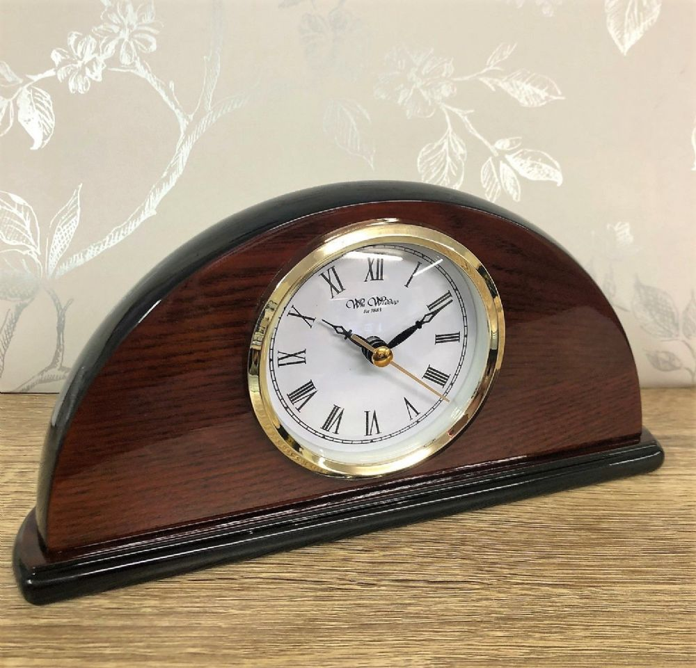Arched Shaped Wooden Polished Mantel Clock 23 cm